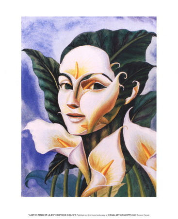 octavio-ocampo-lady-in-field-of-lilies