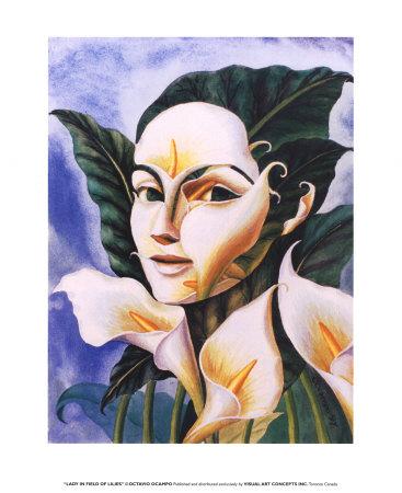 octavio-ocampo-lady-in-field-of-lilies