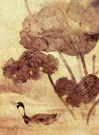 Lotos und Wasservogel